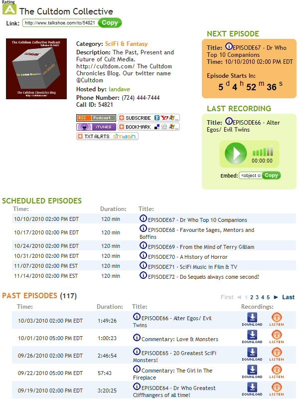 Cultdom Podcasts for October 2010 onwards